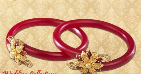 Bengali Red And White Bangles In Gold Designs By Pc