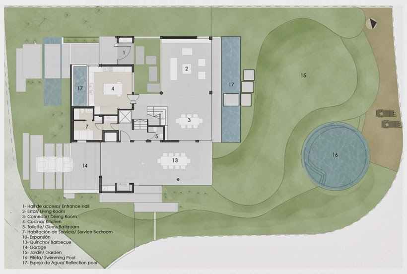 Ground floor plan of Casa del Cabo by Andres Remy Arquitectos