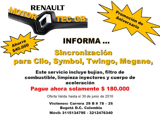 Sincronizacion Renault Megane, Clio, Symbol, Twingo en Bogota