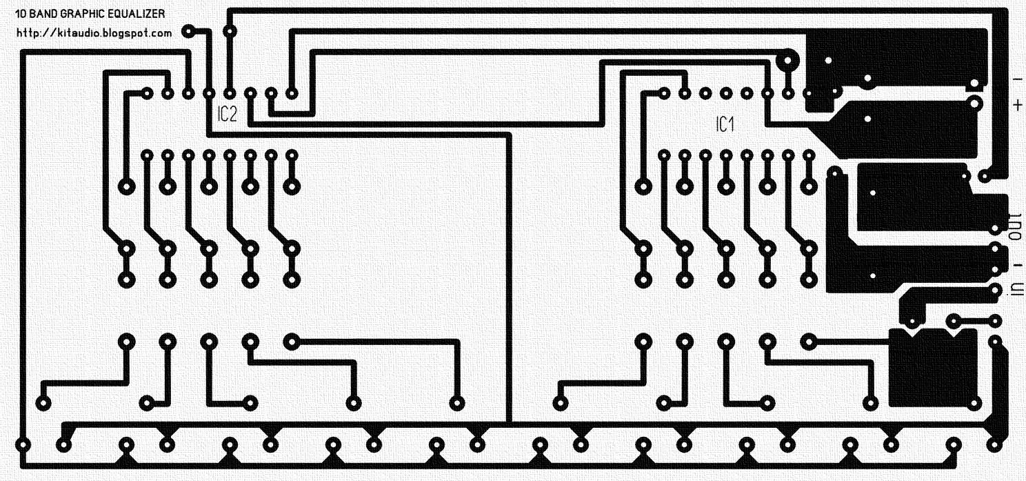 audio kit 10 band graphic equalizer circuit with ka2223 and pcb [ 1488 x 697 Pixel ]