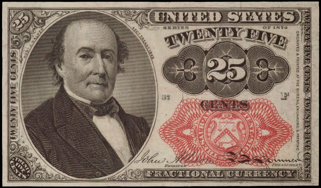 Fractional Currency Twenty Five Cents note 1874