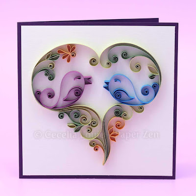 quiling bird anniversary greeting card
