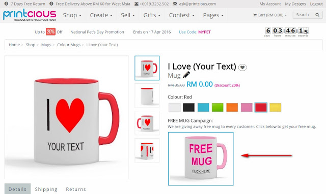 Giveaway Free Mug Campaign by Printcious
