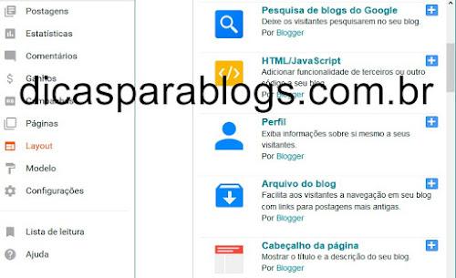 Gadget ou pagina Quem sou Eu do Blogger
