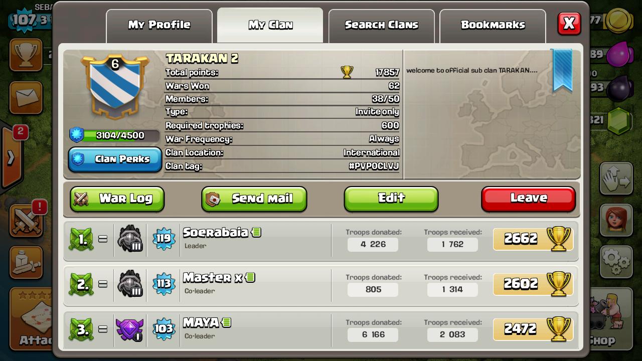 Clan TARAKAN 2 Vs TISAs Slayer TARAKAN 2 Victory CoC Tarakan