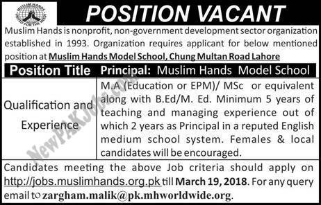 Latest New Jobs in Muslim Hands Model School Lahore