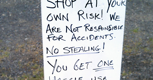 GARAGE SALE SIGN-OF-THE-WEEK: One haggle.