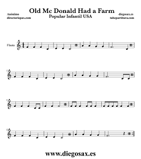 Partitura de En la Granja del Viejo MacDonald para Flauta Travesera, flauta dulce y flauta de pico Canción Popular Infantil USA Old MAcDonald Had a Farm Music Score Flute and Recorder Sheet Music Children's song