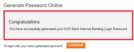 how to get net banking password in icici