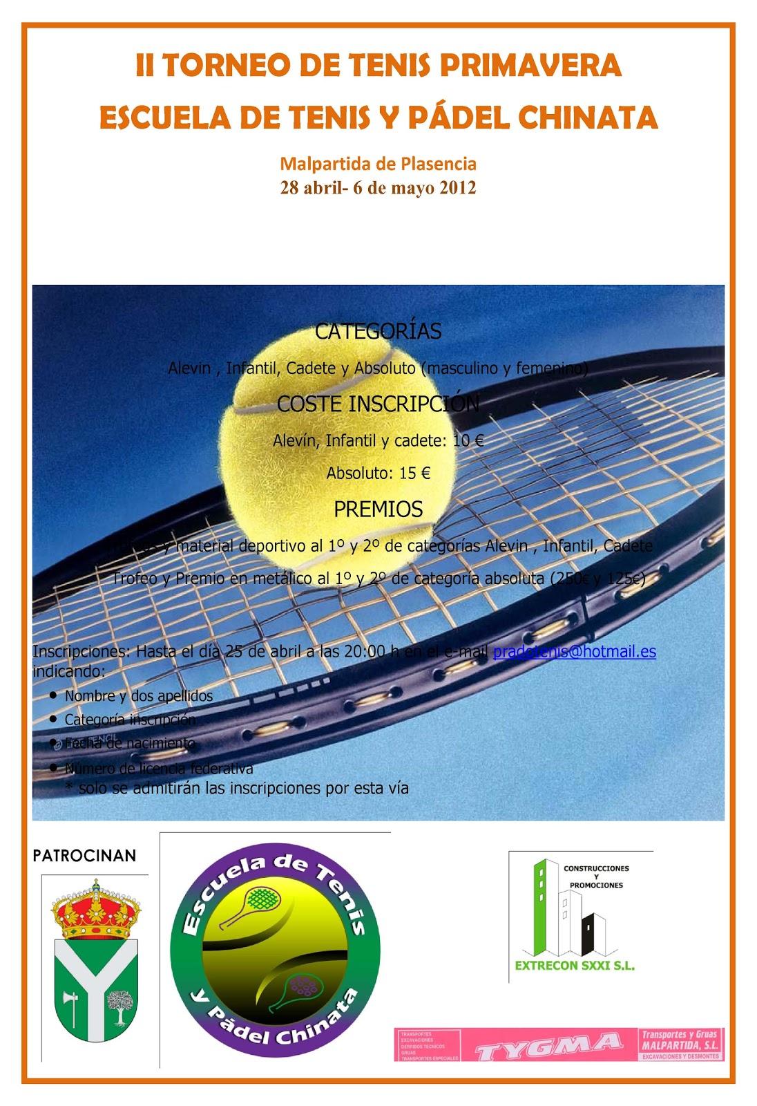 ec1e555745c en el cartel tenéis la información que necesitais para la inscripción.  Publicado por Escuela Tenis y Padel ...