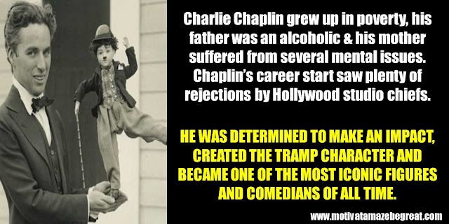 63 Successful People Who Failed: Charlie Chaplin, The Tramp, alcoholic father, ailing mother, rejections by Hollywood studio chiefs.