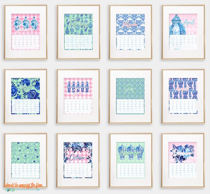 Preppy Chinoiserie Calendar