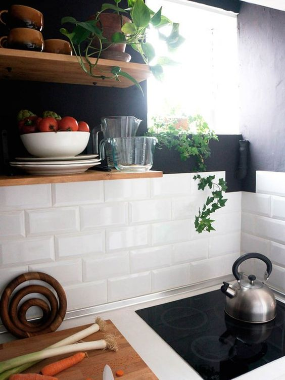 Add greenery to kitchen by decorating with pothos plants -design addict mom