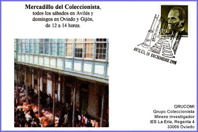Tarjeta del matasellos que el Grupo Filatélico Avilesino dedicó al Mercadillo Filatélico