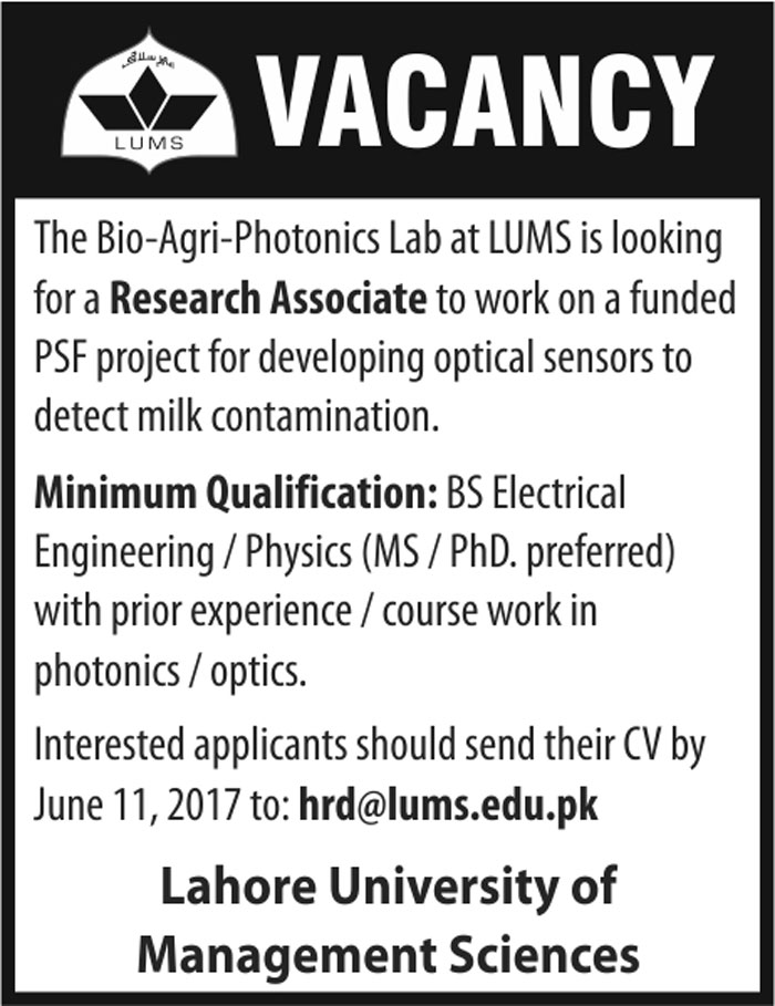 Lahore University Of Management Sciences LUMS Jobs 6 June 2017
