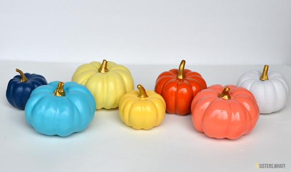dollar store pumpkins painted pumpkins