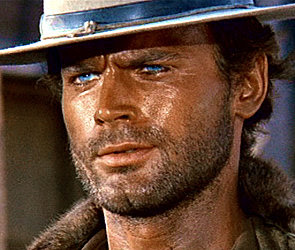 """Terence Hill close up of his blue eyes in """"My Name is Nobody"""""""