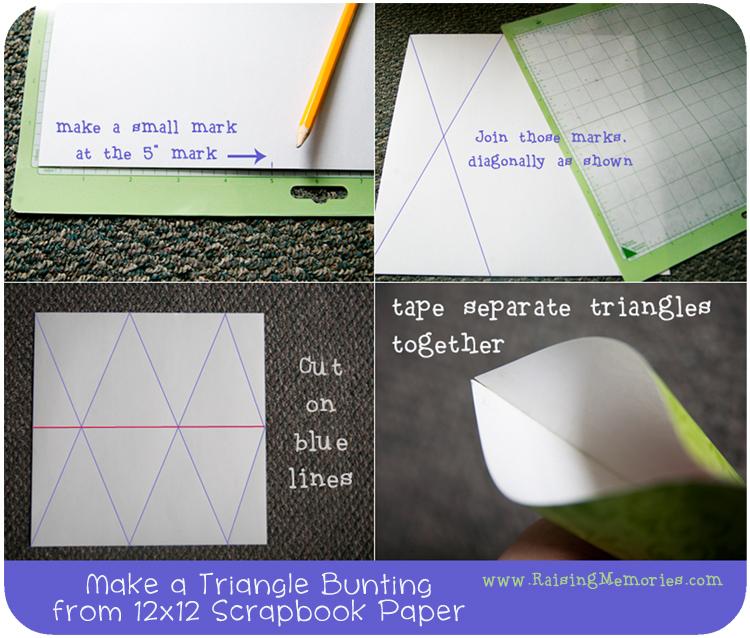 Easy Paper Bunting from 12x12 scrapbook paper at www.RaisingMemories.com