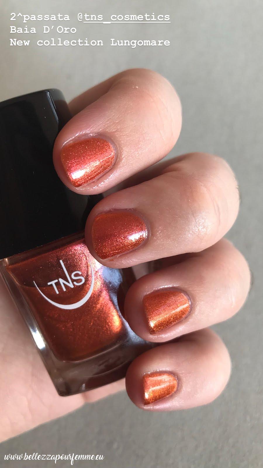 2 applicazione TNS Cosmetics SS 2018 Lungomare smalto Baia D'Oro