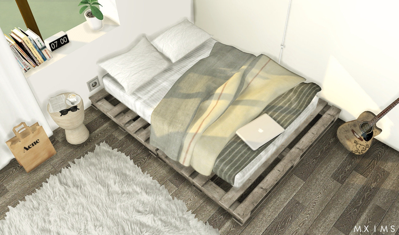 My sims 4 blog pallet floor bed blanket and pillows by mxims for Floor bed frame