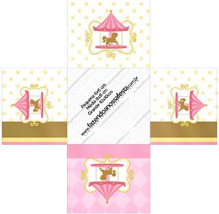 Carrusel en Rosa: Cajas para Imprimir Gratis.