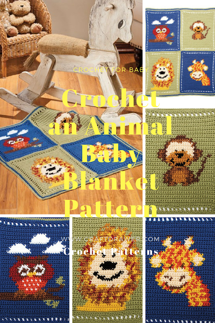 Crochet an Animal Baby Blanket Pattern Featuring a giraffe, monkey, owl and Lion