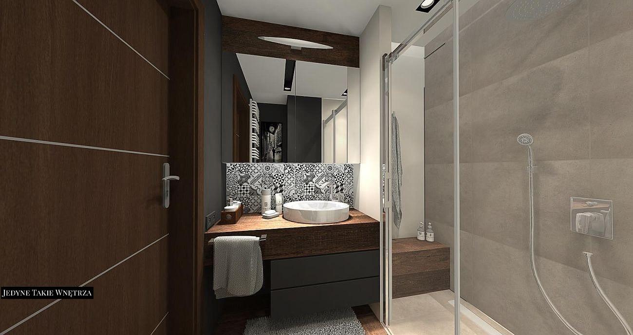 Proste formy, nowoczesne wyposażenie i modne akcenty - projekt i aranżacja męskiej łazienki.