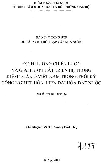Định hướng chiến lược và giải pháp phát triển hệ thống kiểm toán ở Việt Nam trong thời kỳ công nghiệp hoá, hiện đại hoá đất nước