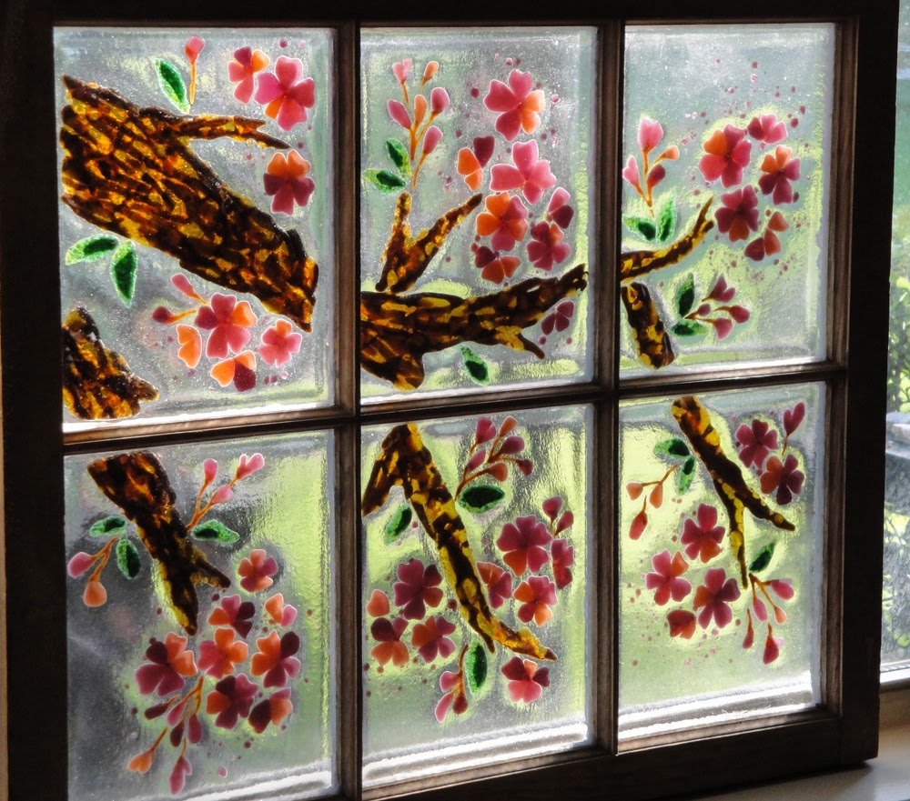 Cherry Blossom Sakura Art Flower Fused Stained Glass Antique Window Hanging Pane Bullseye
