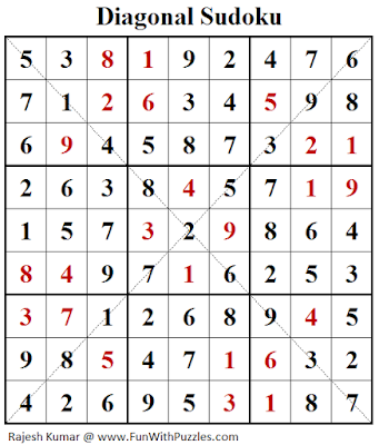 Diagonal Sudoku (Daily Sudoku League #182) Solution