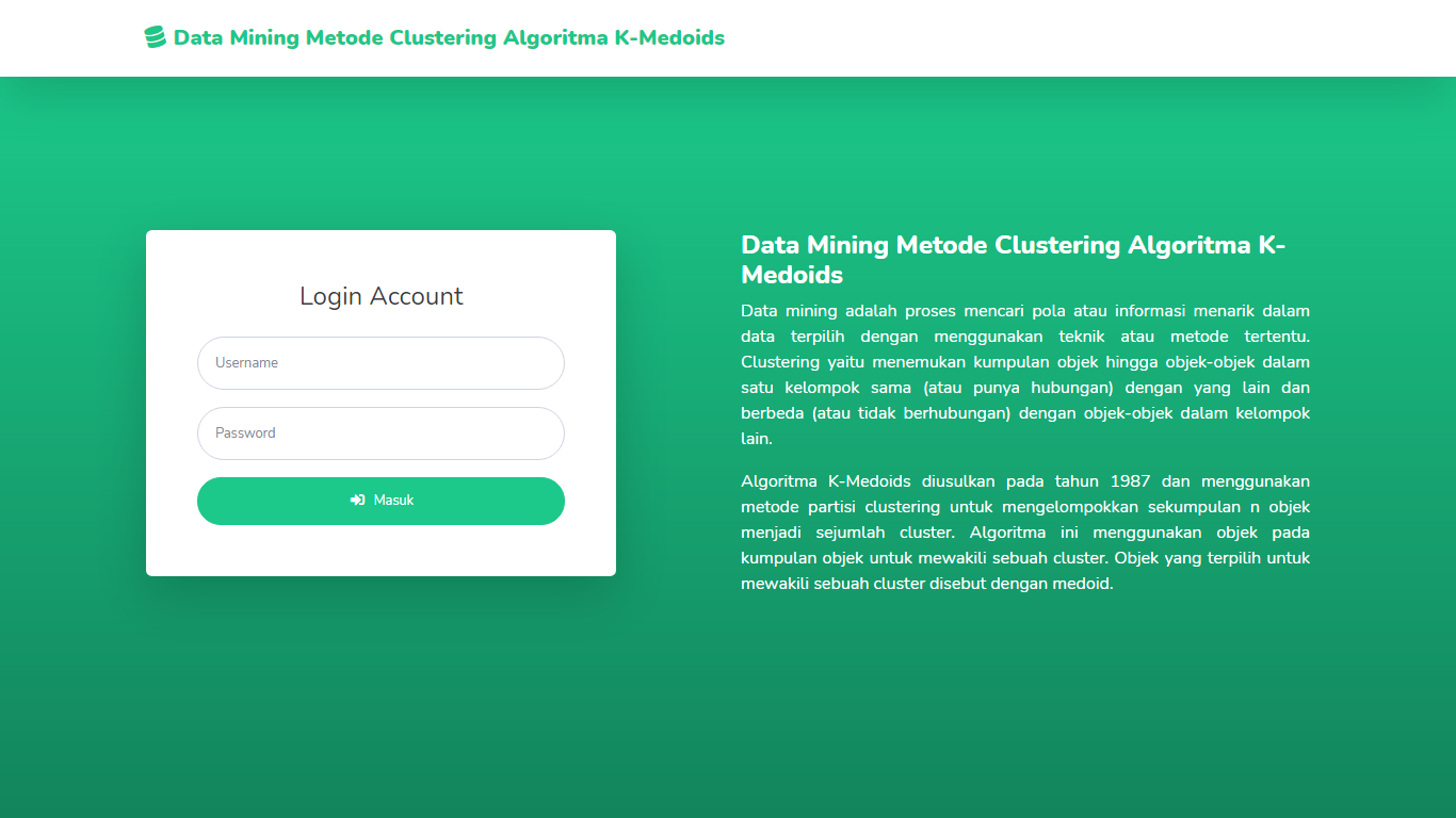 Aplikasi Data Mining Pengelompokan Tanaman Metode Clustering Algoritma K-Medoids - SourceCodeKu.com