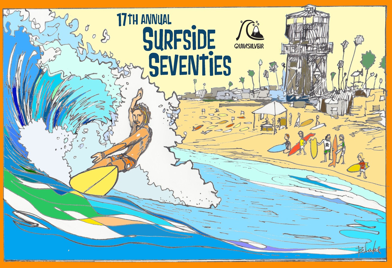 Well known Ricky Blake Fine Art: 17th annual Surfside Seventies poster art PQ18
