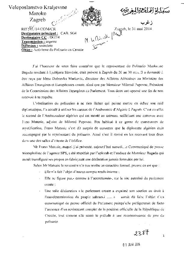Moroccoleaks : Actividad del representante saharaui en Croacia provoca delirios del embajador marroquí