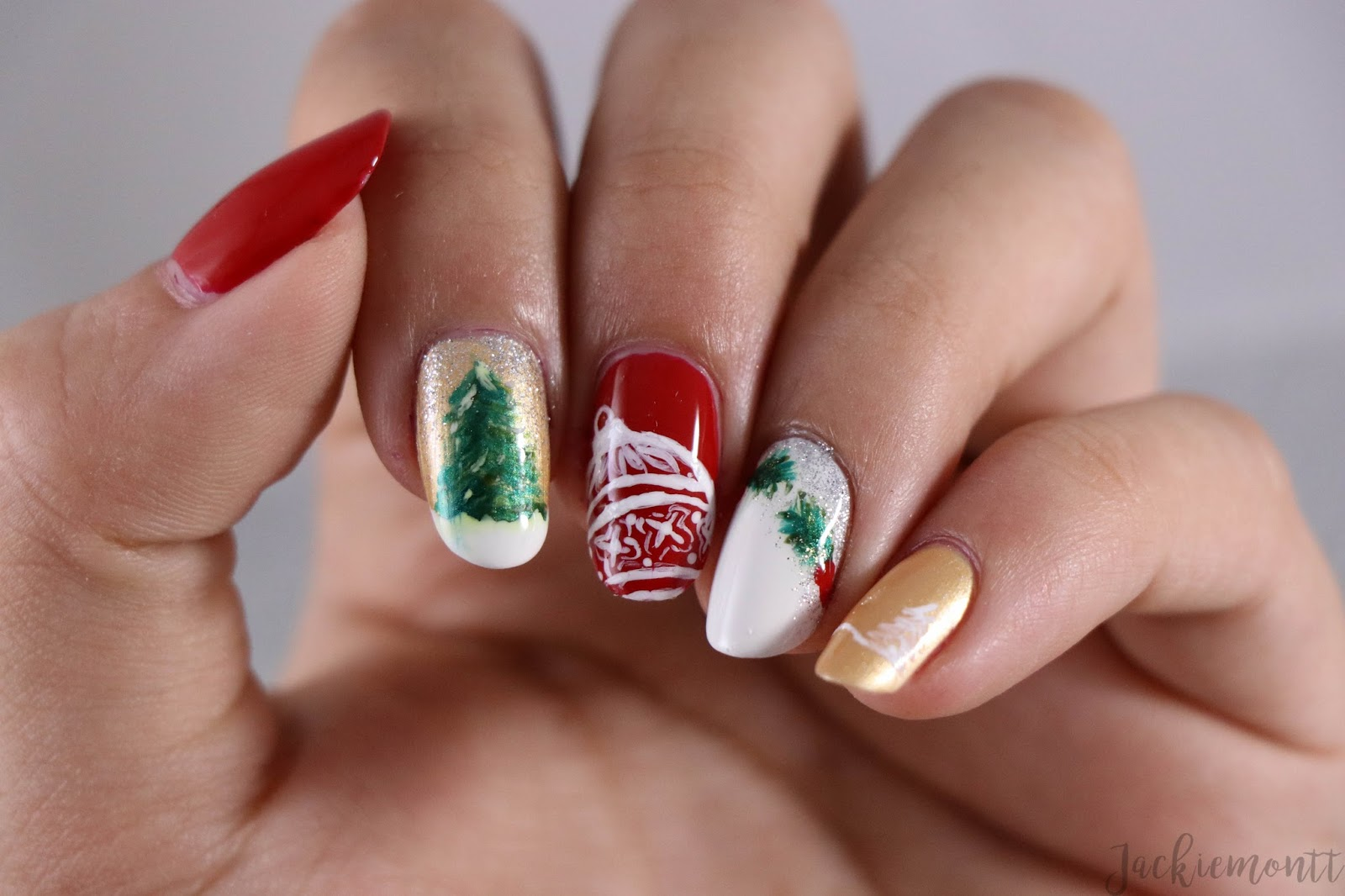 Happy Holidays Collage Nail Art Jackiemontt