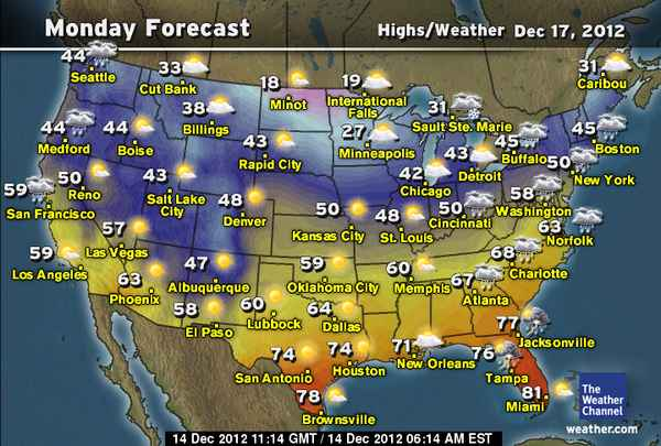 Daily Weather Newsletter  2012 12 16 There is a clear distinction of colors with the colder air seemingly  trapped in the northern part of the country  Over the weekend  there will  be a mixture