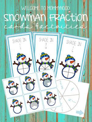 Winter activities: snowman fraction cards and game by Welcome to Mommyhood #winteractivities, #montessori, #homeschoolactivities, #printables