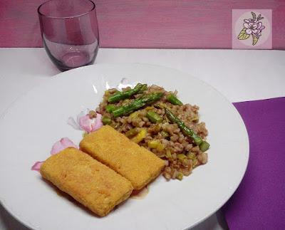 Salteado de Cebada con Trigueros y Tofu Empanado