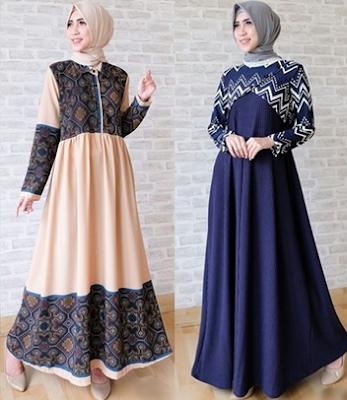 Baju gamis casual hijab modis untuk lebaran
