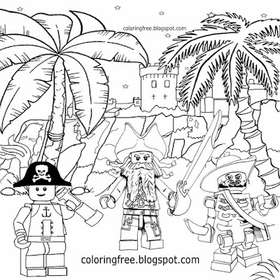 Caribbean bandits island at world's end port royal castle Lego pirates coloring pages for children