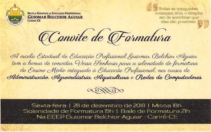 Dia 28/12, às 18h, formatura dos cursos de Administração, Agroindústria, Aquicultura e da Rede de Computadores