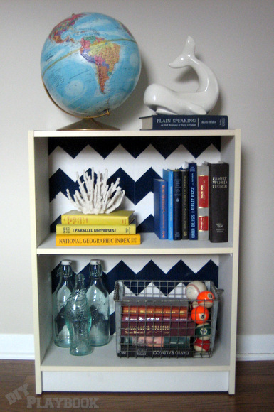 Reattach the backing of the bookcase and it has a whole new look!