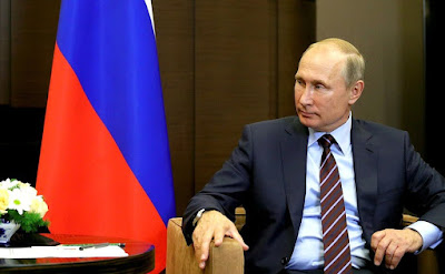 Vladimir Putin at a meeting with Prime Minister of Lebanon Saad Hariri.