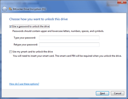 bitlocker drive encryption with password