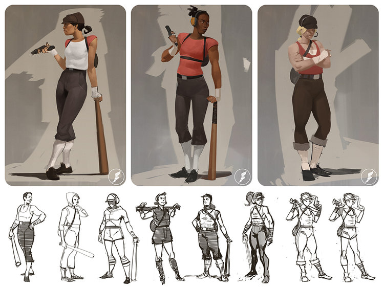 Team Fortress 2 pudo haber tenido personajes femeninos, bocetos dentro