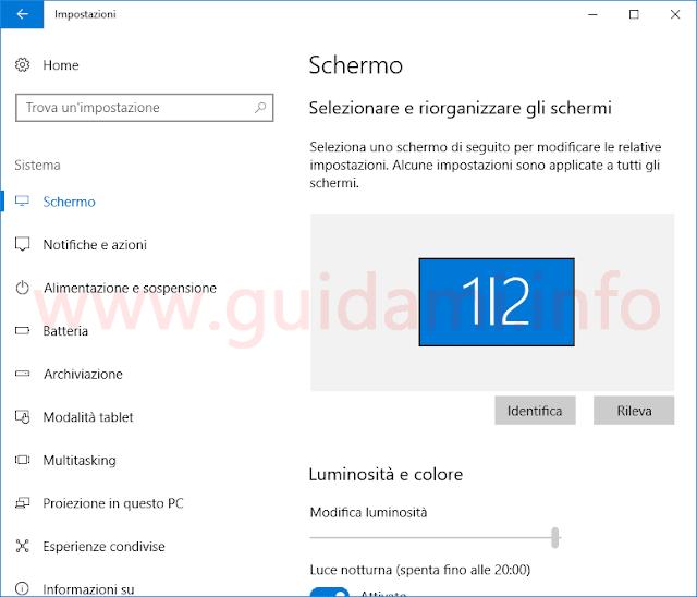 Windows 10 finestra Impostazioni Schermo