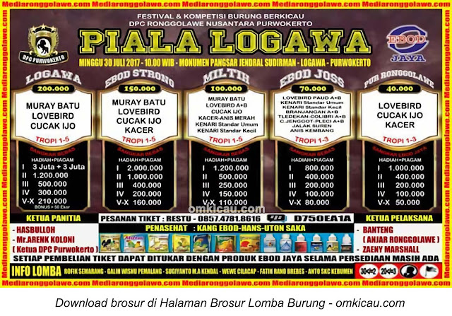 Lomba Burung Berkicau Piala Logawa, Purwokerto, 30 Juli 2017