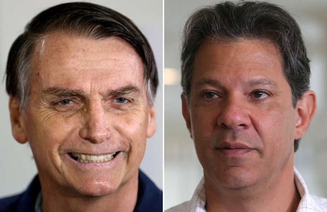 Pesquisa: Bolsonaro tem 57% dos votos válidos e Haddad, 43%