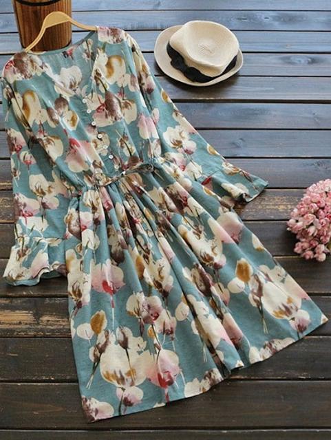 Vestido floral manga de sino