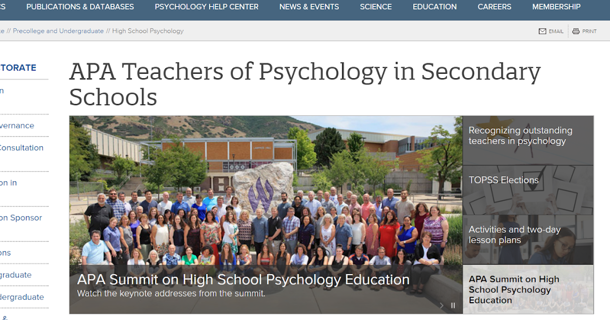 APA/TOPSS Membership-Teaching of Psychology in Secondary Schools