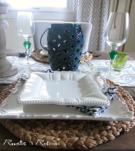 blue and white farmhouse table